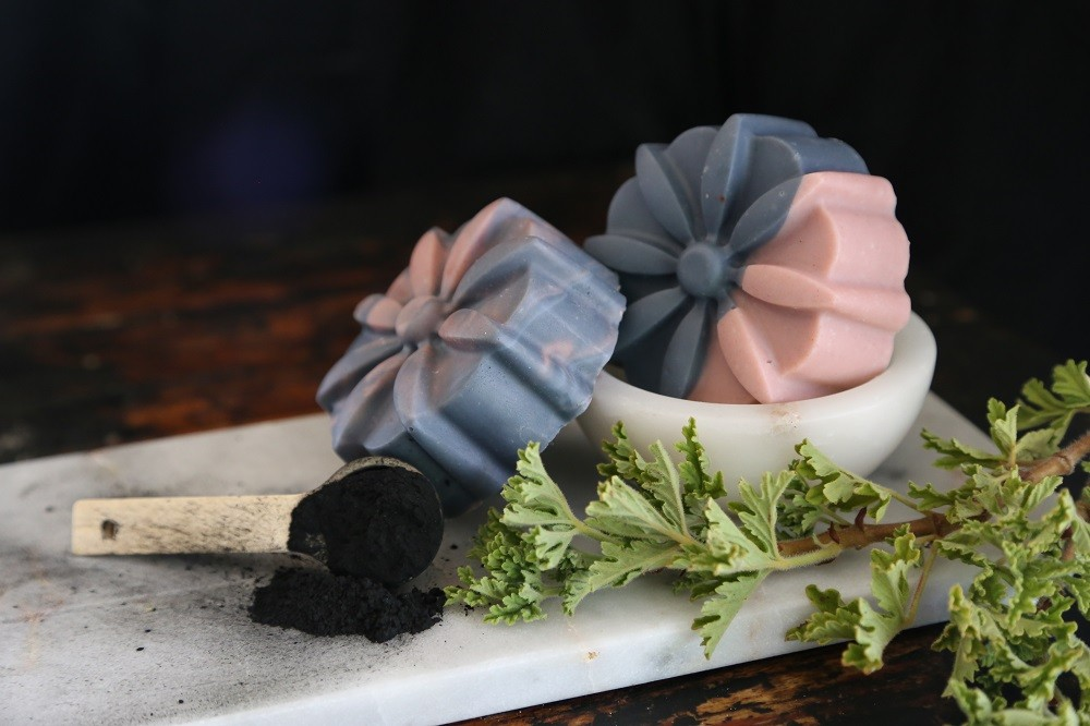 ACTIVATED CHARCOAL ROSE GERANIUM AND PINK CLAY OLIVE OIL SOAP